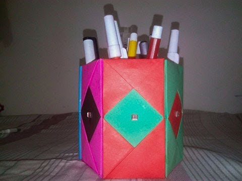 DIY - How to make a Pencil box with 6 storage box using Paper Sheet