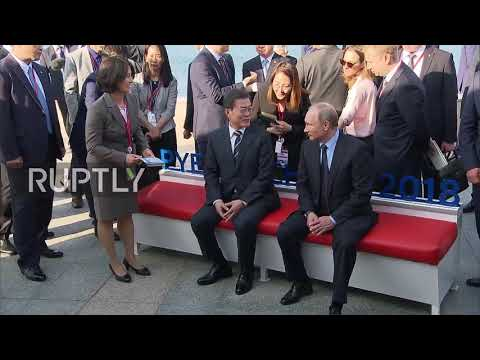 Russia: S Korean President gives Putin 2018 Winter Olympic toy mascots at Eastern Economic Forum
