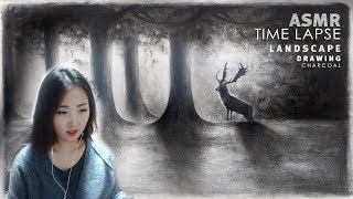 Deer Forest Drawing ASMR + Time lapse 챠콜로 그린 ASMR