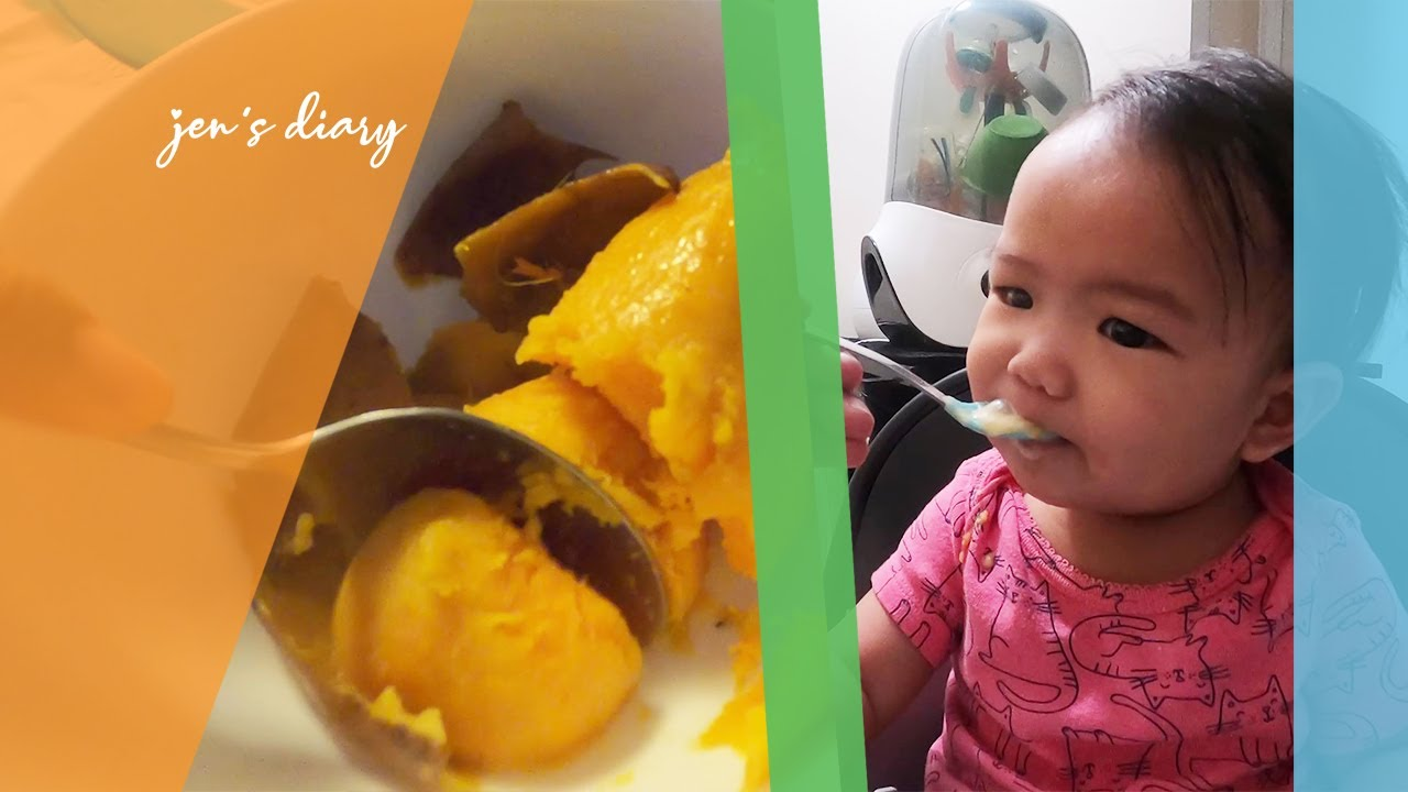 Six Months Old Baby Eats Homemade Mashed Sweet Potato