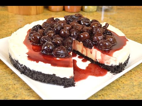 No Bake White Chocolate Cheesecake with Bing Cherry Topping |Cooking With Carolyn