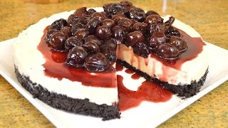 No Bake White Chocolate Cheesecake With Bing Cherry Topping  cooking With Carolyn