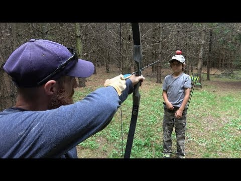 Shooting APPLE off my Son's Head with BOW! [Clickbait] | Testing the Black Hunter Mandarin Duck Bow