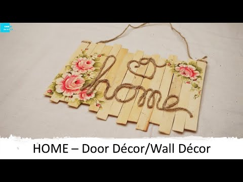 DIY Door Decor | CHiRMs Art and Craft | Chirms | DIY Wall Decor | Decoupage Decor |Craft stick craft
