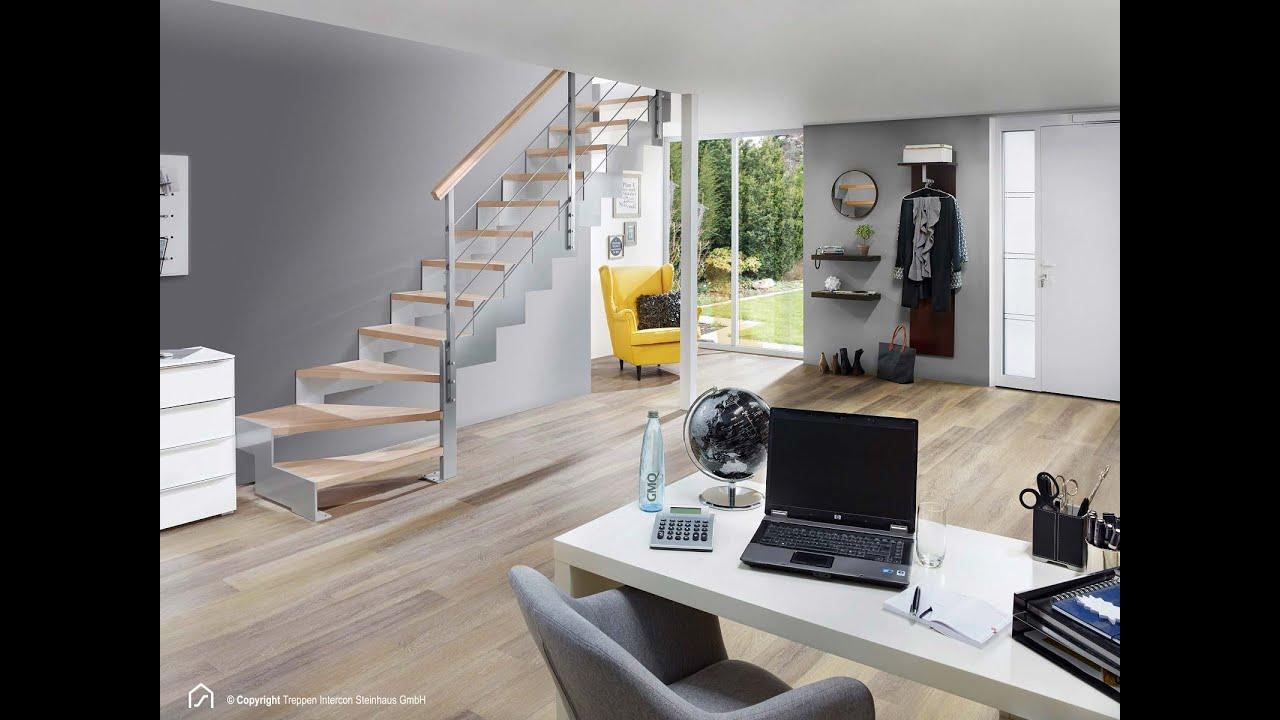 montage lasergeschnittene treppe intercon rio 1 4 gewendelt mit gel nder youtube. Black Bedroom Furniture Sets. Home Design Ideas