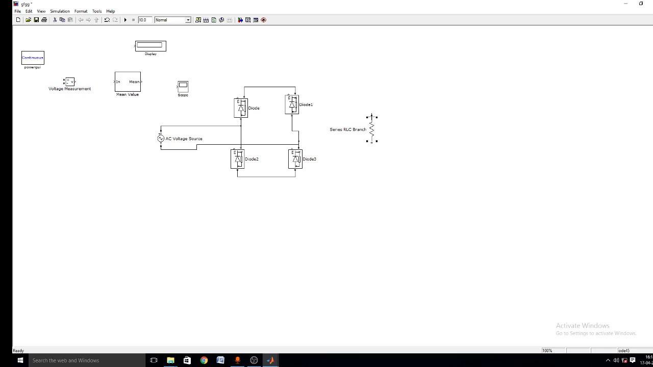 Simulation Of Full Bridge Rectifier With Filter Capacitor Using Circuit Wave Choke Matlab Simulink