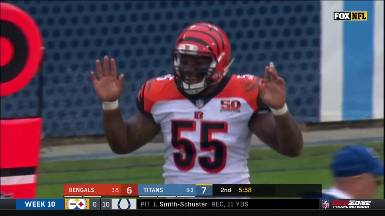 Vontaze Burfict Ejected For Late Hit Making Contact W Ref Bengals Vs Titans Nfl Wk 10