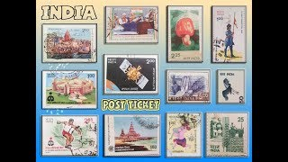 Indian postage-stamps & ticket in India (post-ticket)