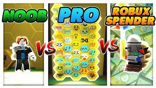 NOOB vs PRO vs ROBUX SPENDER! (Roblox Bee Swarm Simulator)