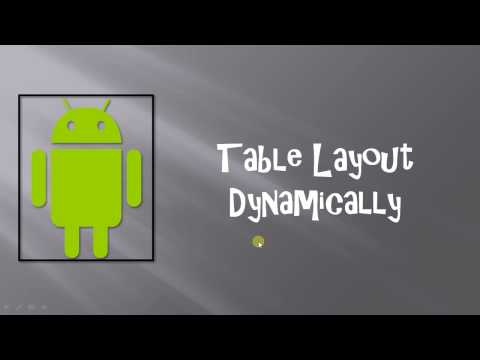 Android TableLayout Dynamically Part 1 By Mihir Modi