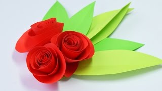 ПРОСТЫЕ РОЗЫ из БУМАГИ СВОИМИ РУКАМИ(Простые розы для открытки или подарка своими руками. Мы делали из офисной бумаги и вышло просто супер! Они..., 2016-01-12T20:23:25.000Z)