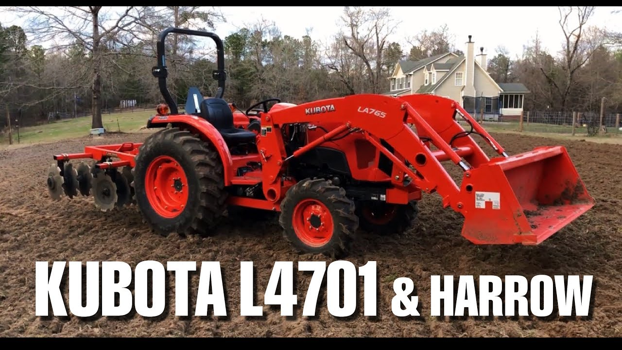 Harrowing with a Kubota L4701 and Land Pride DH1572