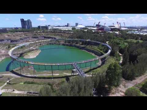 Drone flyover - Sydney Olympic Park's - Brickpit Ring Walk
