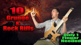 10 Classic Grunge Riffs! Only One Finger Needed! Nirvana, Bush, Pearl Jam, Silverchair, The Vines