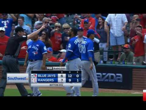 Texas Rangers vs Toronto Blue Jays Brawl Part 1