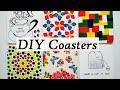 DIY / Tile coaster easy decoration: acrylic paint, decoupage and black pen.
