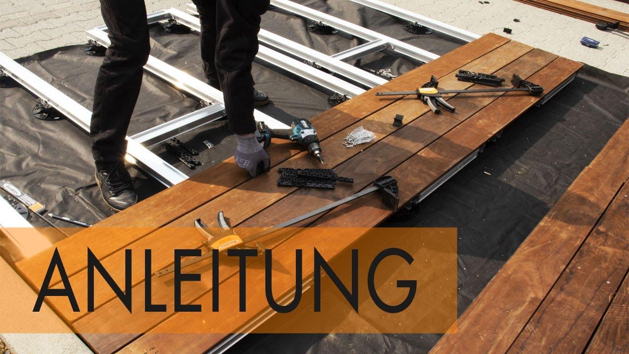 Anleitung Terrasse mit Unterkonstruktion aus Aluminium bauen