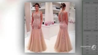 2015 шампанское длинные платья выпускного вечера ну вечеринку вечера официально кружева ап(, 2016-01-27T17:42:41.000Z)