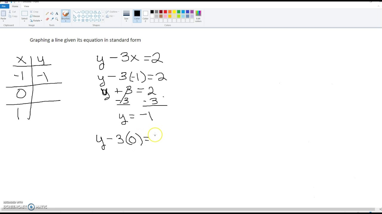 Graphing a line given its equation in standard form - YouTube