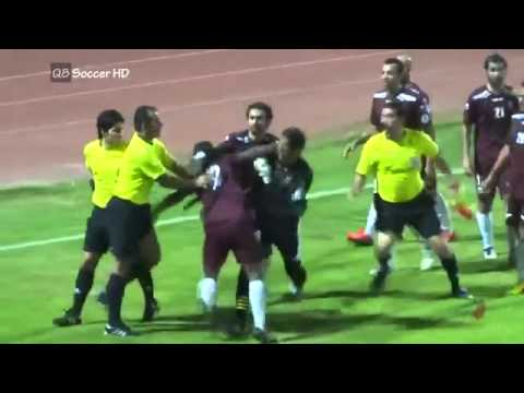 Referee Hits Players and Sent Off Them | Alnasar 1-4 Alarabi - VIVA Kuwait League 2014 [FULL VIDEO]