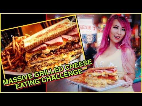 HUGE Grilled Cheese Food Challenge in Chicago @ Cheesie's #RainaisCrazy