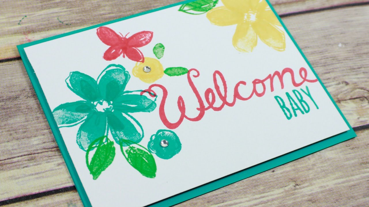Welcome baby card step simple stamping also youtube rh