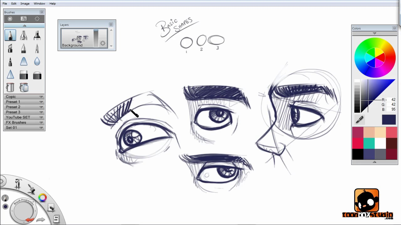 Cartoon Character Design Eyes : Designing the male character eyes youtube