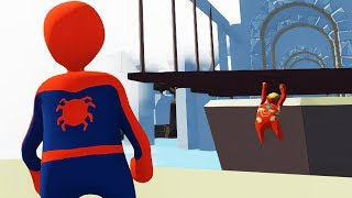 НЕ ЛОМАЙ МНЕ ПАРКУР HUMAN FALL FLAT | пластилиновые герои Володя Человек Паук и Железный Человек