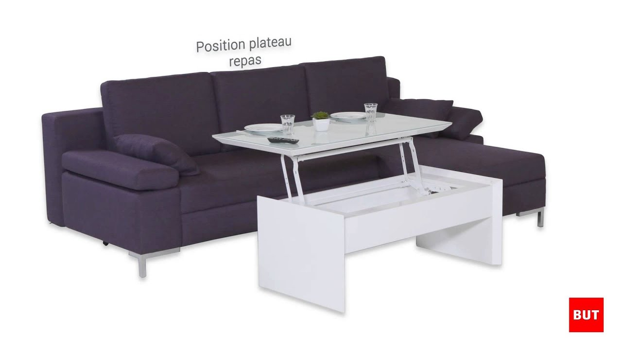Table basse avec plateau relevable tommy but youtube for Table basse bois relevable