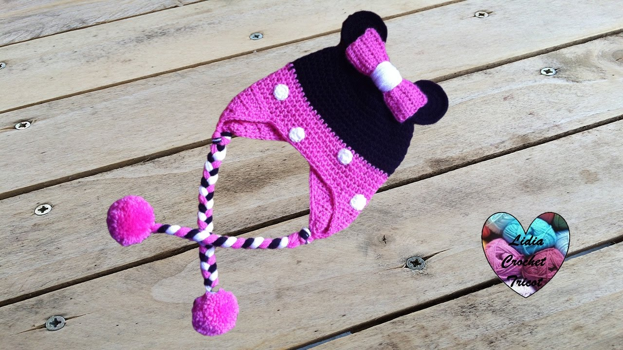 Bonnet Minnie Mouse crochet   Minnie Mouse beanie crochet (english ... 669ead1300b