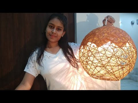 How to Make a lamp,Yarn wrapped lamp,lanterns ,hanging light,lampshadeand yarn globes,DIY Room Décor