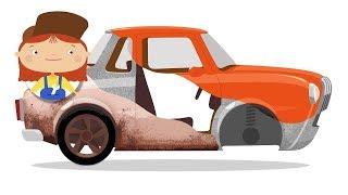 Çizgi film Doktor Mac Wheelie  - Paslanmış araba.