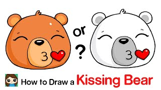 How to Draw a Polar Bear Kissing Emoji Face Easy
