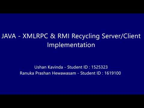 Java eclipse XML-RPC & RMI Recycling Machine application demonstration