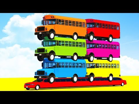 FUN LEARN COLORS SCHOOL Bus on LONG CARS & SUPERHEROES Video Spiderman Cartoon for Kids Children