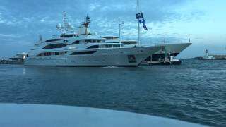 Superyacht Galaxy by Benetti with Paris Hilton docking in Marina Ibiza next to Megayacht Palladium
