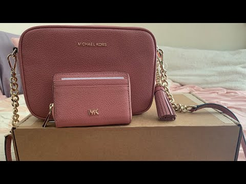 michael-kors-ginny-medium-pebbled-leather-crossbody-|-small-pebbled-leather-wallet-|-unboxing