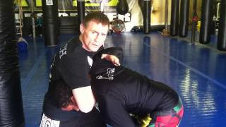 Greg Nelson 50/50 clinch to one armed guillotine CSW Seminar 2012 demo on Jaime Fletcher