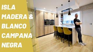 Cocina con Isla Moderna Madera y Blanca CJR
