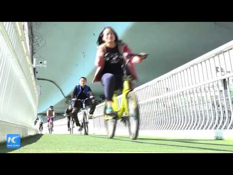 """Riding over cars! China's first """"skycyle"""" bike path starts trial operation"""