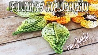 Folha em Crochê para Aplicação