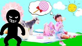 公園でお菓子ごっこ遊び!大好きなキャンディが消えた!Hanemari favorite candy has disappeared at park  - はねまりチャンネル