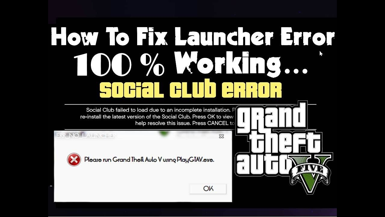 GTAV Launcher ,GTA 5 Social Club Error FIXED