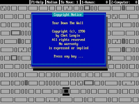 Tear Down the Wall - MS-DOS Game (1990) by Chet Langin