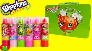shopkins lip balm and strawberry kiss tin surprises with tsum tsums