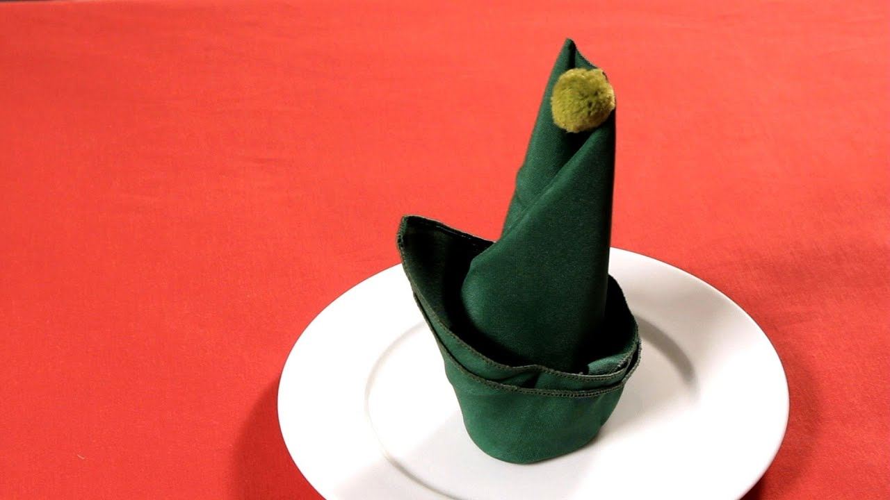 How to Fold a Napkin into an Elf Hat  Napkin Folding