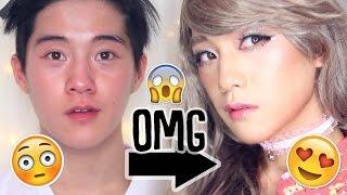 TRANSFORMATION: Male to Female Instagram Japanese Gyaru Makeup ft. spacerabbitx3