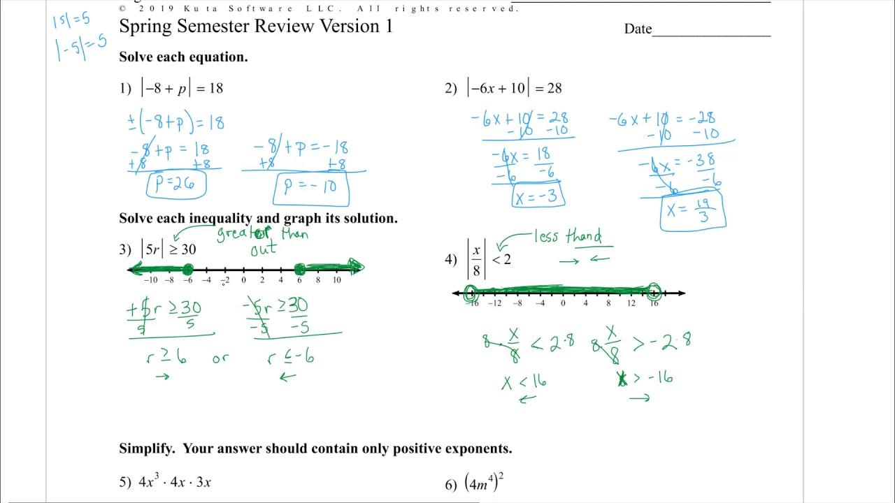 Algebra 1 - Spring Semester Review 2019 - YouTube