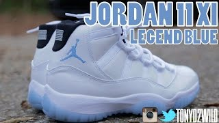 "2014 Jordan 11 ""Legend Blue"" ""Columbia"" w/ On Foot"