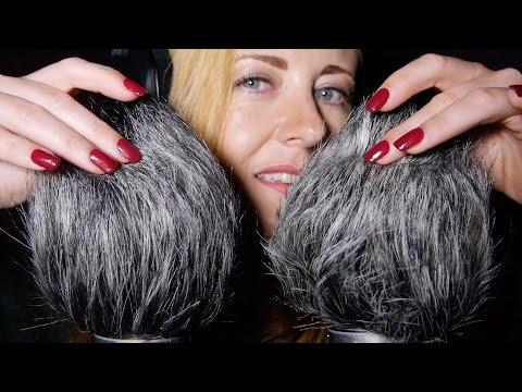 ASMR Windy Muffs ❤︎ Hair Smoothing, Head Scratching, Mic Blowing
